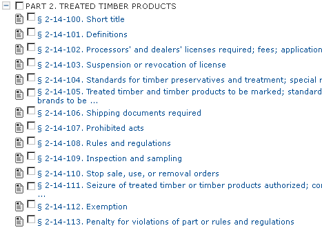 A screen capture of the Georgia Code having to do with Treated Timber