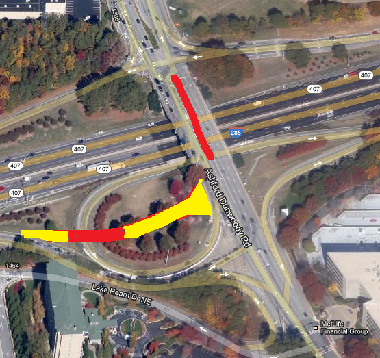 Layout of some of the weekend construction on the Ashford Dunwoody Interchange