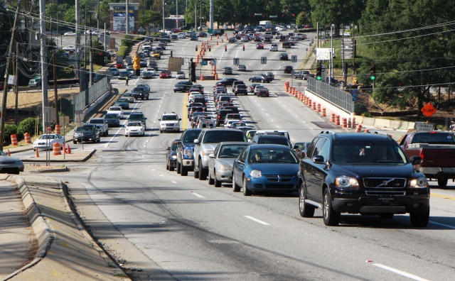 Ashford Dunwoody over I-285, Looking North from Lake Hearn Drive