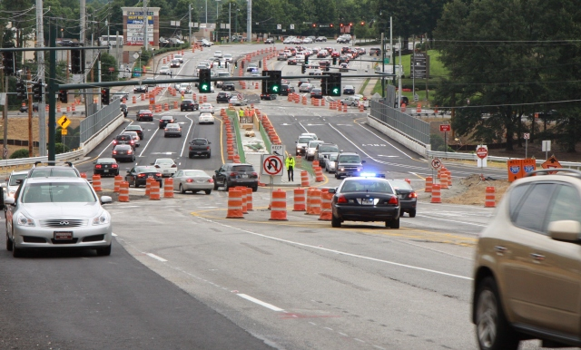 Ashford Dunwoody over I-285, After DDI configuration change, looking north from Lake Hearn Drive.
