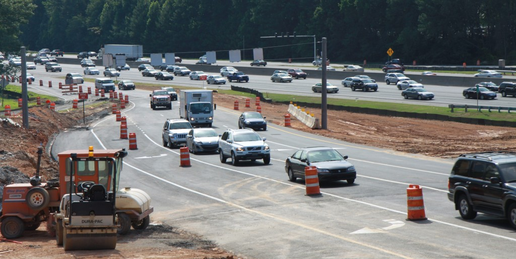 The new eastbound off ramp for the Ashford Dunwoody divering diamond