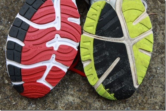 Comparison of running shoes' soles