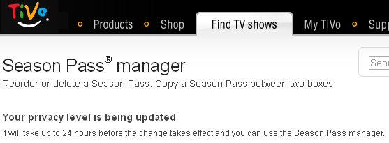 """It will take up to 24 hours before the changes take effect and you can use the Season Pass Manager."""