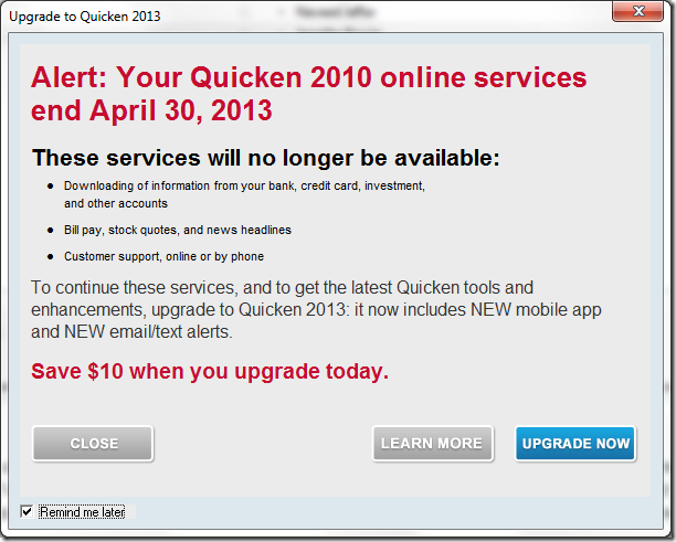 Quicken declares I must upgrade to keep online download services.