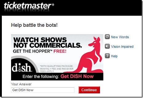 Ticketmaster CAPTCHA