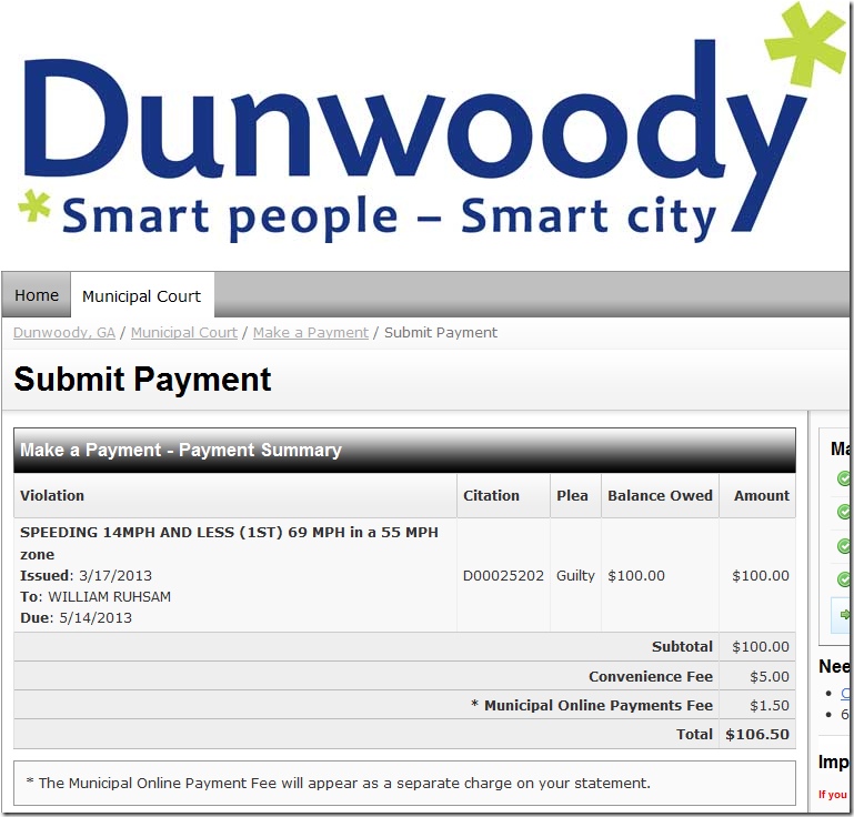 "Dunwoody speeding citation with a $5 ""convenience fee"""