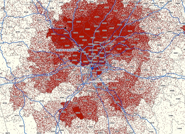 An Atlanta Braves map-product showing individual tickets sold in 2012. Shows concentration in north Atlanta and Northern Suburbs.